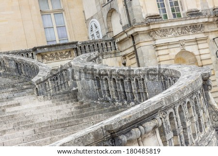 Stairs to Royal hunting castle  in Fontainebleau - France. - stock photo