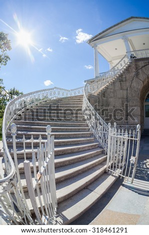 Stairs to the Cameron Gallery of the Catherine Palace at Tsarskoye Selo (Pushkin), St. Petersburg, Russia - stock photo