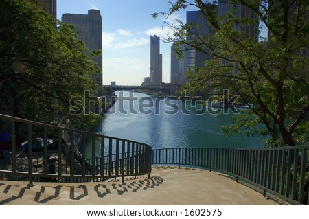 Stairs to the Chicago River - stock photo
