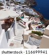 Stairs to the hotel on Santorini island, Greece - stock photo