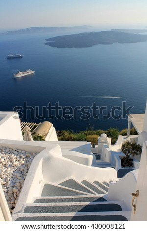 Stairs to the sea in Greece, Santorini
