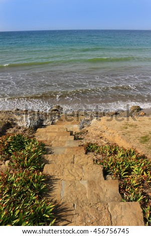 Stairs to the Shore at  Anzac Cove, Turkey the scene of one of the bloodiest campaigns of World War 1 in the Gallipoli Peninsula on the Aegean Sea - stock photo