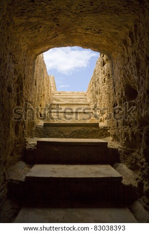 Stairs to the sky. Tombs of the Kings, Paphos, Cyprus.