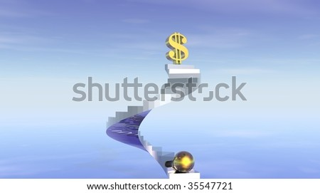 Stairs to wealth and fortune - stock photo
