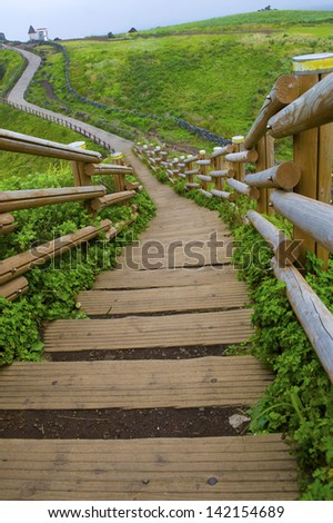 Stairs up the hill - stock photo