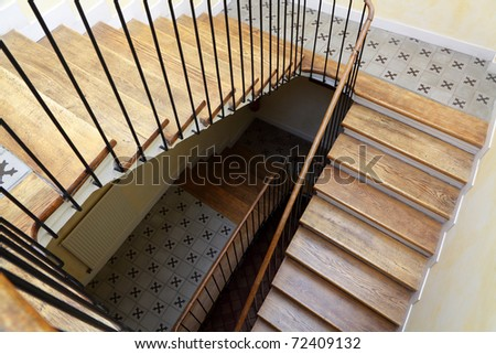 stairs with wooden steps in the old house - stock photo