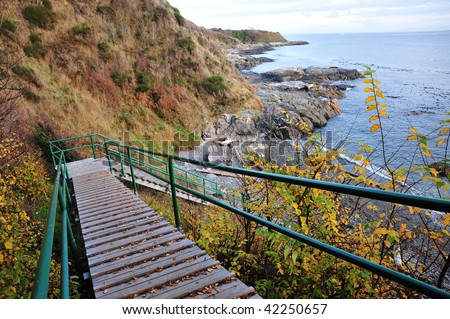 Stairway Access To Seaside Beach In Victoria, British Columbia, Canada