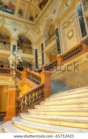 stairway. An interior of opera theatre. Lvov, Ukraine - stock photo