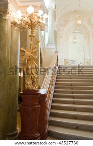 stairway. An interior of opera theatre. Odessa, Ukraine - stock photo