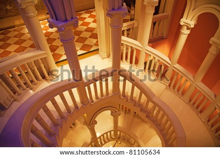 stairway. An interior of venetian style palace - stock photo