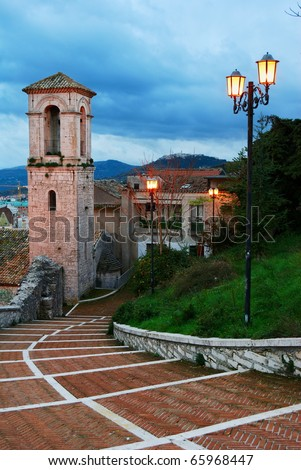 Stairway and staple in the old town of Campobasso in center Italy - stock photo