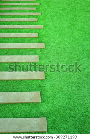 stairway covered with green grass - stock photo