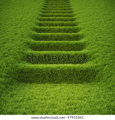 stairway covered with green grass. - stock photo