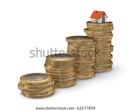 Stairway from coins leading to home - mortgaging concept - stock photo
