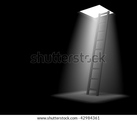 Stairway from darkness - stock photo