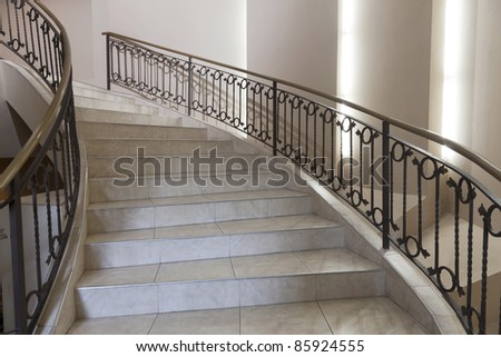 stairway in luxury shopping mall - stock photo