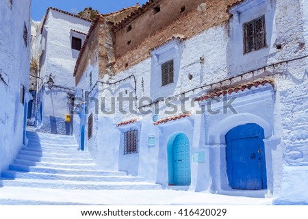 Stairway in the blue medina of Chefchaouen, Morocco - stock photo