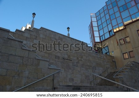 stairway leading to the catedral iglesia de cristo in spanish city santander.