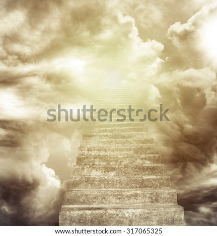 Stairway leading up to heavenly sky - stock photo