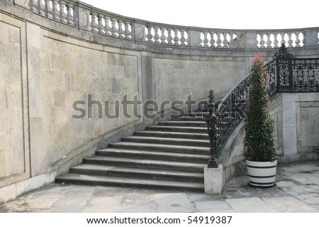 Stairway made of stone to the palace with expensive balustrade