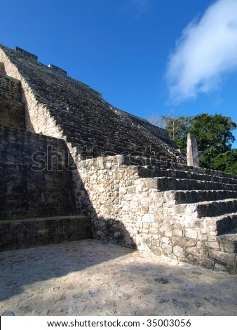 Stairway of the Great Pyramid of Calakmul, built by the ancient Maya of the Yucatan, Mexico. - stock photo