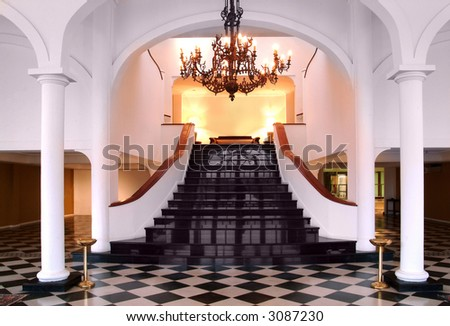 stairway on a luxury house interior - stock photo