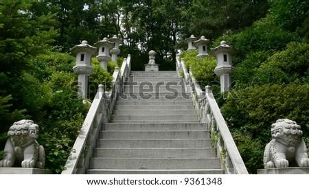 Stairway to buddhist temple, Seoul, South Korea - stock photo
