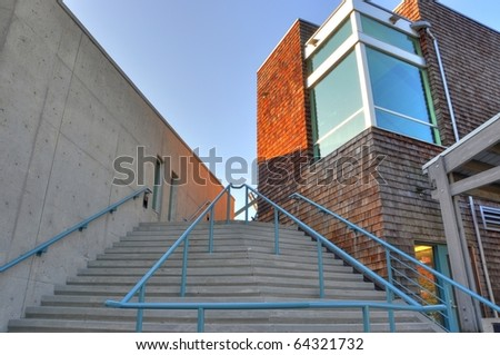Stairway to coummity center; HDR photo - stock photo