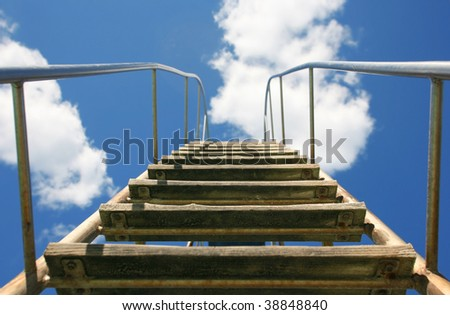 Stairway to heaven and beyond the sky and clouds - stock photo