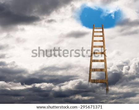 Stairway to heaven, blue skies, happiness. Wellbeing, psychology concept.. - stock photo