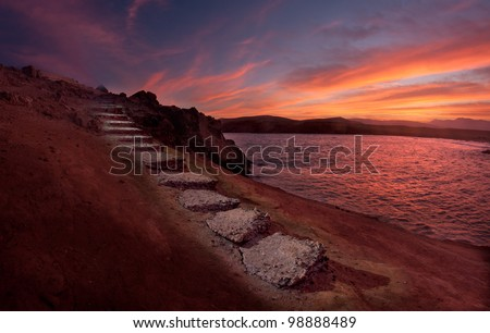 Stairway to heaven, concept landscape. - stock photo