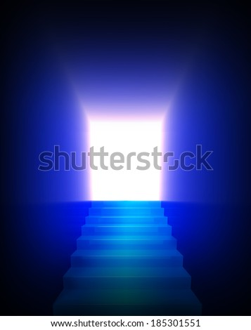 Stairway to heaven in the light. - stock photo