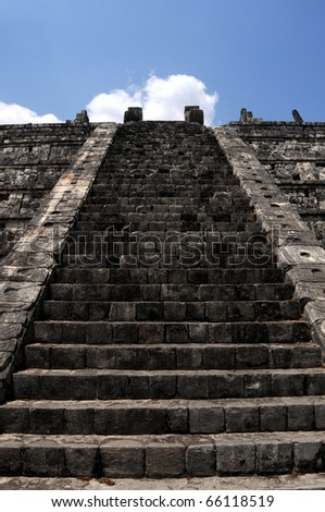 Stairway to heaven - stairway to the top of the Kukulkan pyramid (Castillo) in Chichen Itza, in Mexico - stock photo