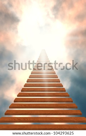 Stairway to heaven/success - stock photo