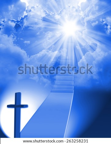 Stairway to heaven with light - stock photo