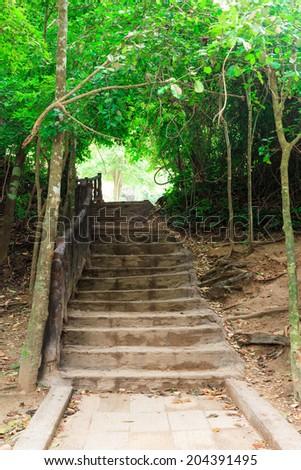Stairway to jungle, Erawan national park, Kanchanaburi,Thailand - stock photo