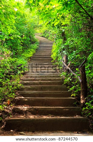 Stairway to jungle, Erawan national park, Kanchanburi,Thaialnd - stock photo