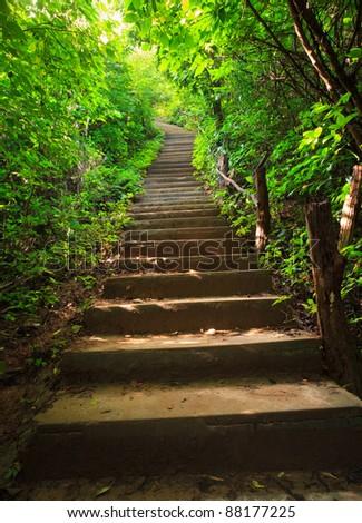 Stairway to jungle, Erawan national park, Kanchanburi,Thaialnd - stock photo