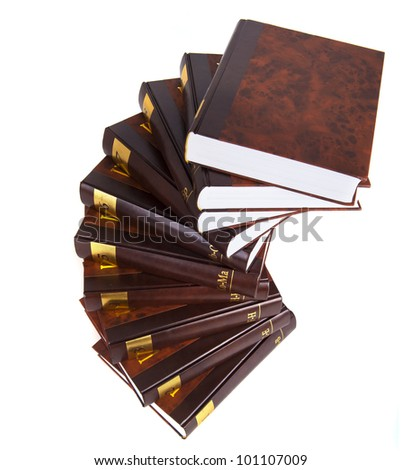 Stairway to knowledge - 10 heavy encyclopedia tomes isolated - stock photo
