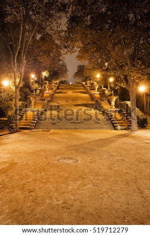 Stairway to Montjuic Hill at night in Barcelona, Spain, Passeig de Jean Forestier