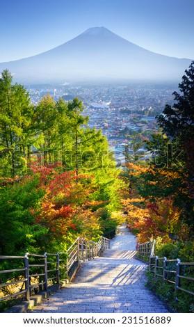 Stairway to Mt. Fuji, Fujiyoshida, Japan - stock photo