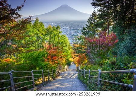 Stairway to Mt. Fuji Fujiyoshida, Japan - stock photo