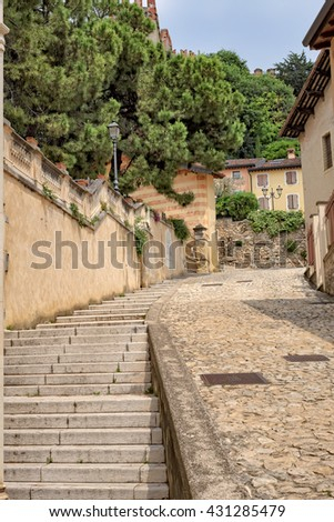 Stairway to the castle Soave Verona Italy - stock photo