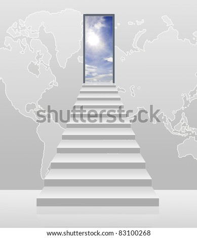 stairway to the sky with world background - stock photo