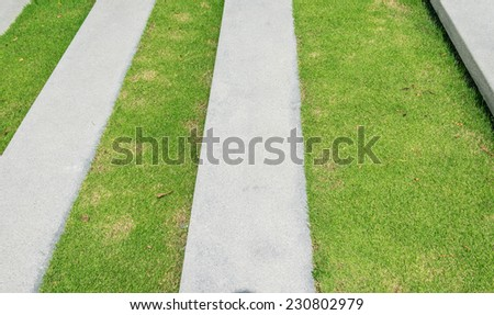 stairway with green grass and gravel texture ,landscape architecture - stock photo
