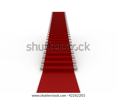 Stairway with red carpet  isolated on white - stock photo