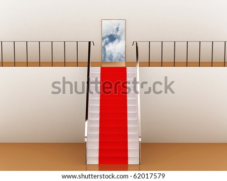Stairway with red carpet to the sky - stock photo