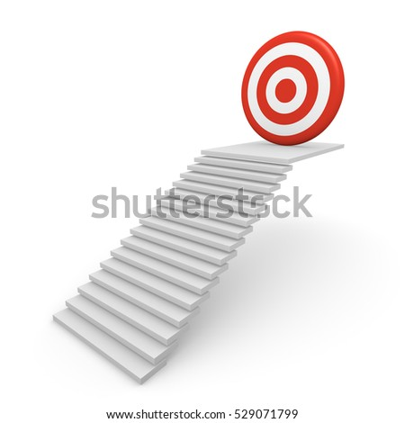 Stairway with target on the top. 3d render.