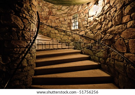 Stairways in tower - stock photo