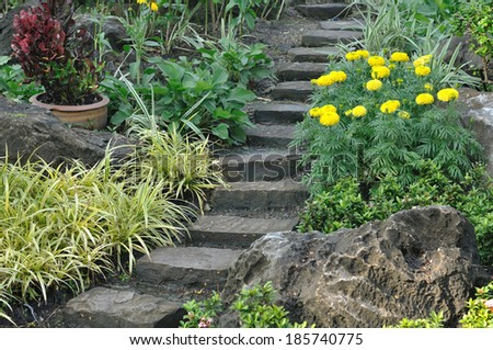 Stairways into flowers garden, public park. - stock photo